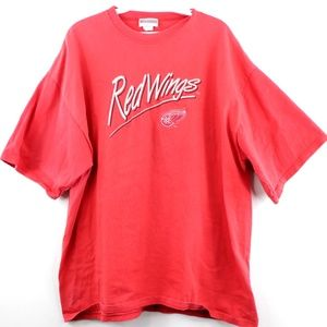 Vintage 90s  Detroit Red Wings Script T Shirt Red